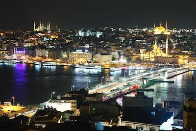 Galata Bridge at night from Galata Tower