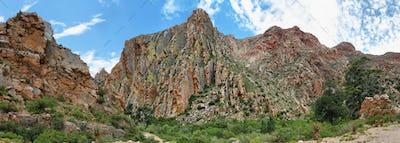 Majestic rocky redish mountains in Swartberg pass