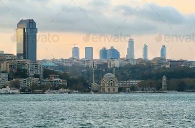 Istanbul skyline at evening