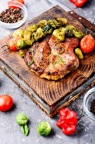 Meat steak with brussels sprouts