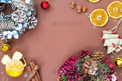 Christmas and New Year holidays background with Christmas wreaths, balls and toys , winter season