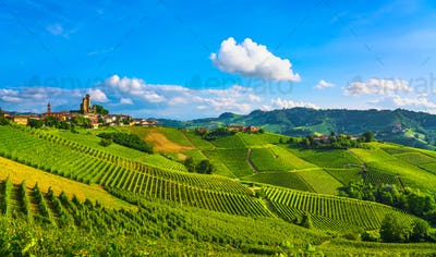 Langhe vineyards sunset panorama, Serralunga Alba, Piedmont, Ita
