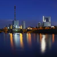 Power Stations At Night Panorama