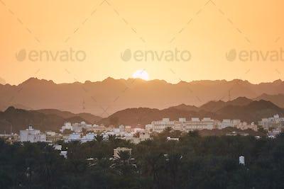 Oman landscape at sunset