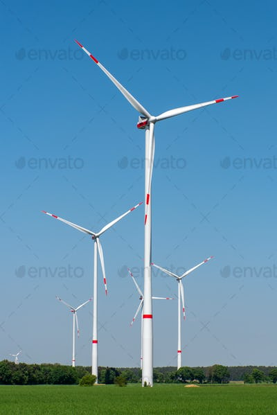 Wind turbines in a rural area