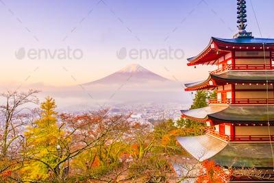 Beautiful landscape of mountain fuji with chureito pagoda around