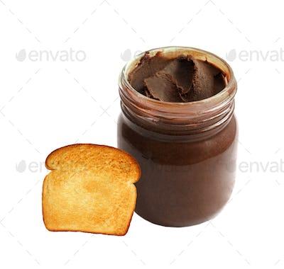 jar of chocolate cream isolated on white background