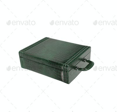 old green briefcase isolated on white