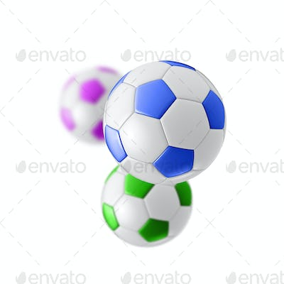colored football balls isolated on white background