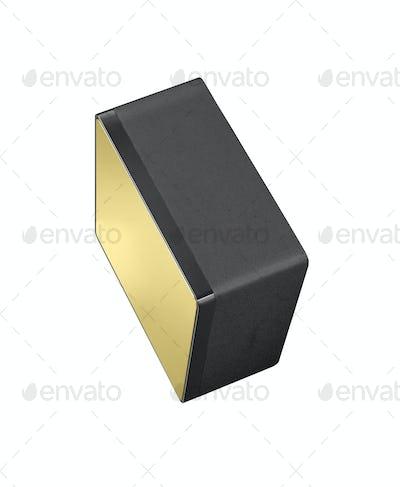 Black and gold floor sound speakers