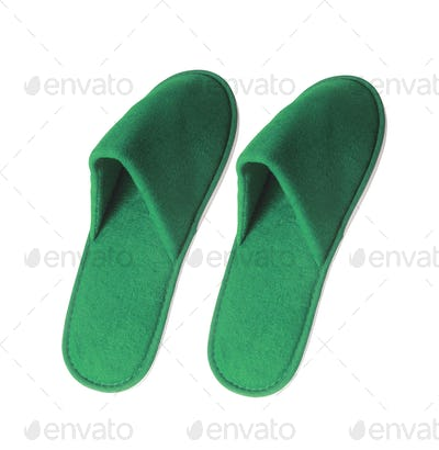 Pair of green slippers on white background