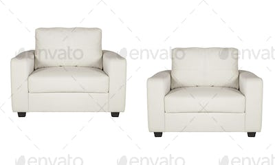 studio shot of a leather white armchairs isolated on white background