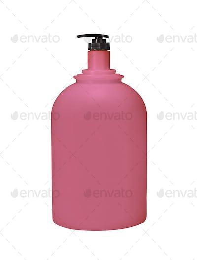 Dispenser Pump Cosmetic Or Hygiene Red, Plastic Bottle Of Gel, Liquid Soap, Lotion, Cream, Shampoo