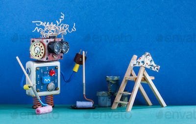 Funny robotic painter decorator ready for interior maintenance