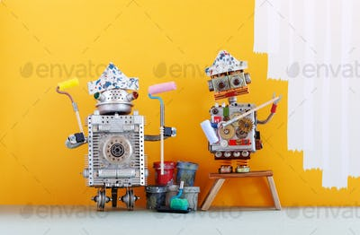 Painter decorator robots ready for interior improvement.