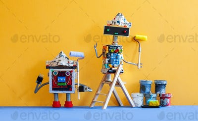 Funny robots painters with paint rollers. Yellow wall background