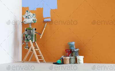 Painter decorator robot at work. Wooden ladder, paint buckets on brown wall background. copy space