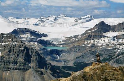 Glacier lake and Bow falls from Cirque peak, Banff national park