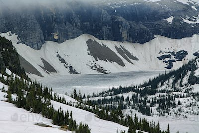 View to iced hidden lake