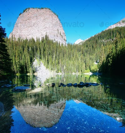 Mirror lake in Lake Louise area