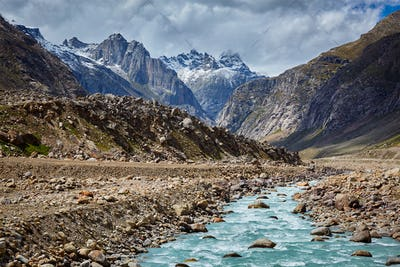 Chandra River in Lahaul Valley in Himalayas