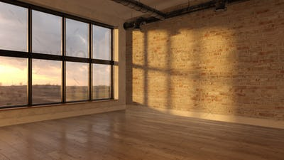 Interior empty room sunset 3D rendering