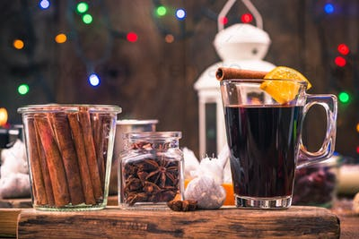 Homemade festive mulled wine, warming at winter days