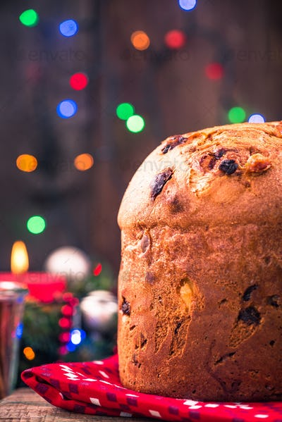 Festive homemade panettone cake on Christmas table