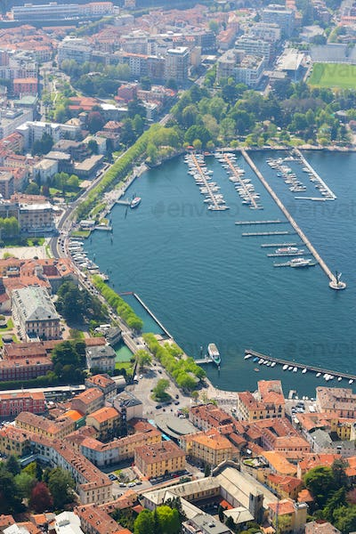 Aerial View at the Como Harbor, Como Lake, Italy
