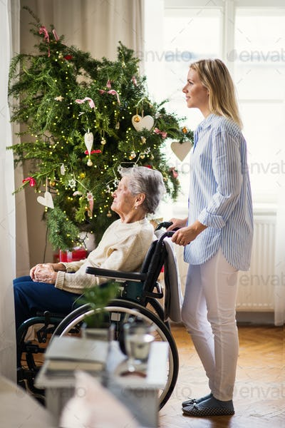 A senior woman in wheelchair with a health visitor at home at Christmas time.
