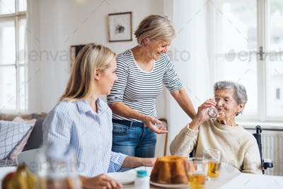 Senior woman in wheelchair with family sitting at the table at home, drinking.