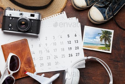 Travel vacation accessories and calendar