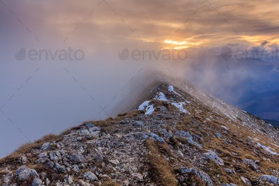 mountain landscape in sunset