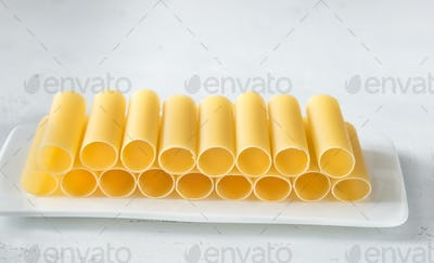 Uncooked cannelloni pasta