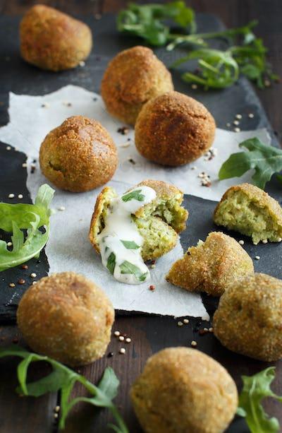 Fried vegetarian  falafel  with broccoli