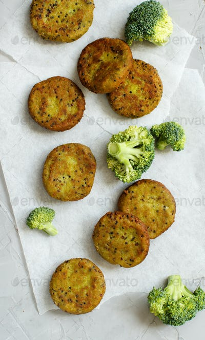 Fried vegetarian broccoli  and quinoa burgers