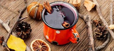 Autumn mulled wine in mug