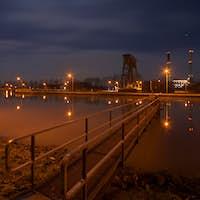 Canal Lock And Aluminium Plant At Night