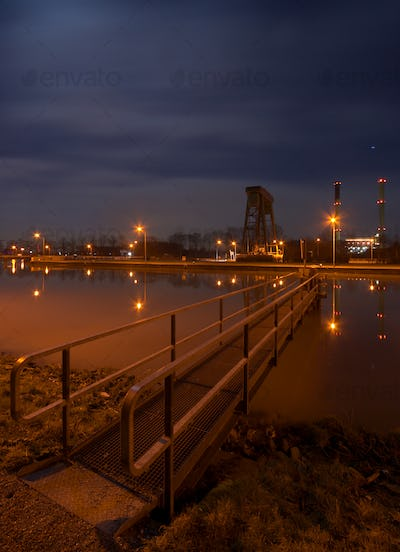 Canal Lock And Aluminium Plant At Night