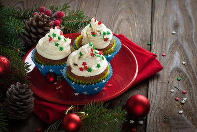 Christmas cupcakes with whipped cream