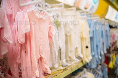 Store for newborns, sliders in cloth department