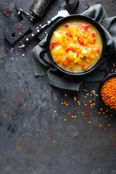 Red lentil soup with vegetables. Vegetarian food