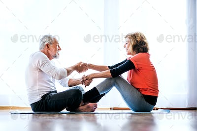 A senior couple doing exercise at home.