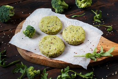 Vegetarian broccoli and quinoa burgers ready to cook