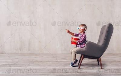 Little boy with popcorn