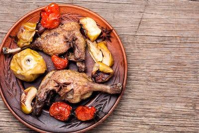 Appetizing roasted duck leg
