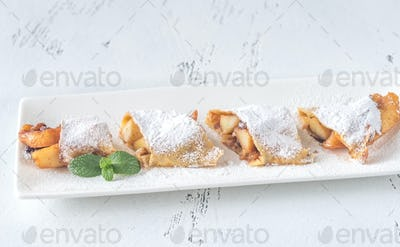 Crepes with apple slices