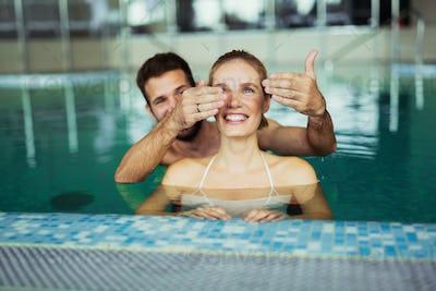 Romantic couple enjoying thermal bath