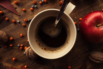 Hot coffee drink for cold autumn days