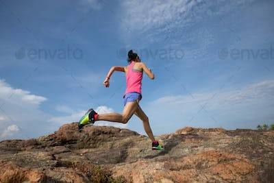 running to rocky mountain top